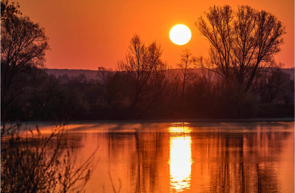 Ein Weiher in oranges Licht der untergehenden Abendsonne getaucht.