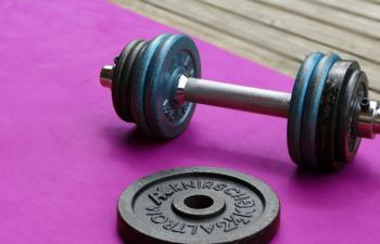 Eine Hantel und ein Gewicht liegen auf einer magentafarbenen Trainingsmatte.